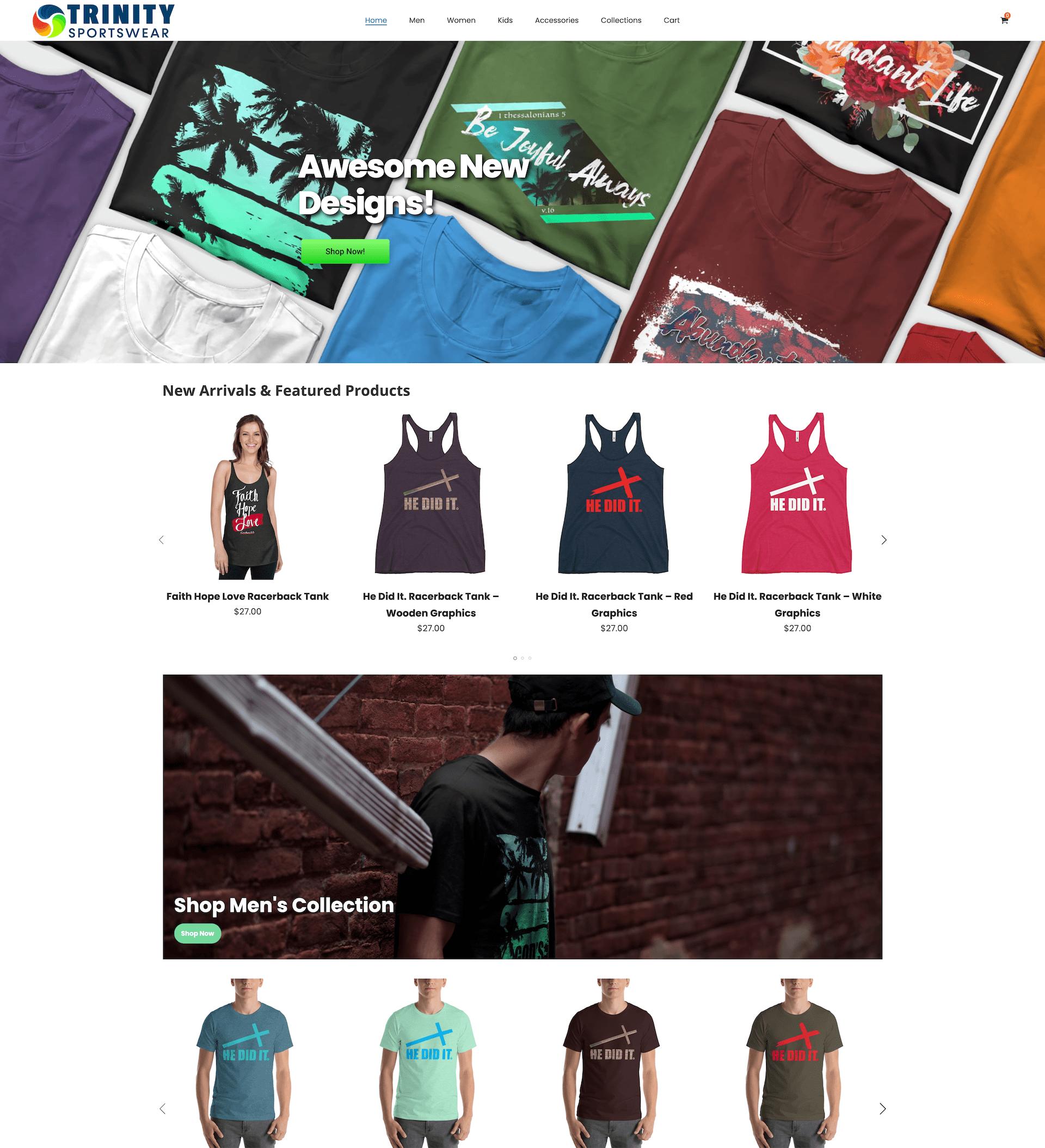 trinitysportswear.com website thumbnail preview - Click to navigate to trinitysportswear.com